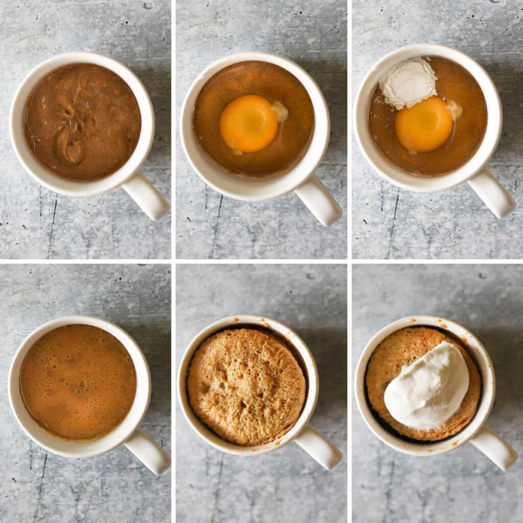 A six image photo collage showing the steps for making a keto mug cake