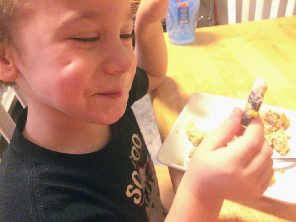 My 3 year old son after he found the baby in our keto king cake!