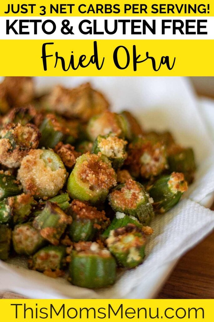 Keto Fried Okra on a white plate with text overlay