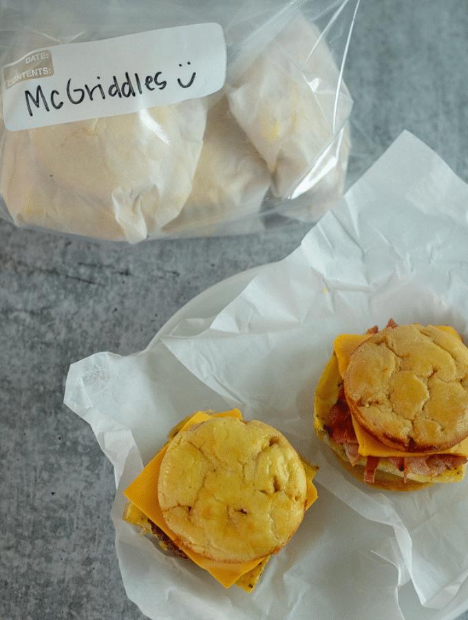 Homemade McGriddles in a freezer bag
