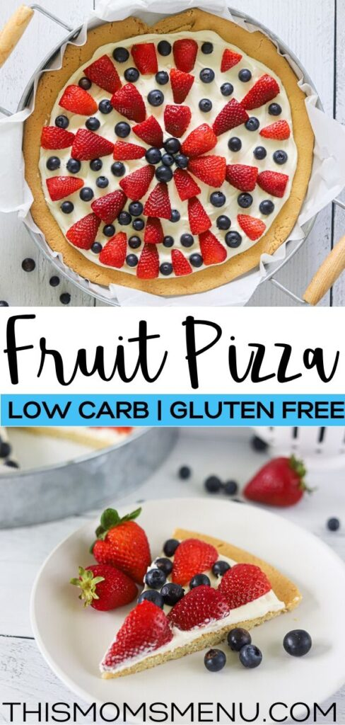 A two image collage showing a full keto fruit pizza, over a single slice with text in the center.