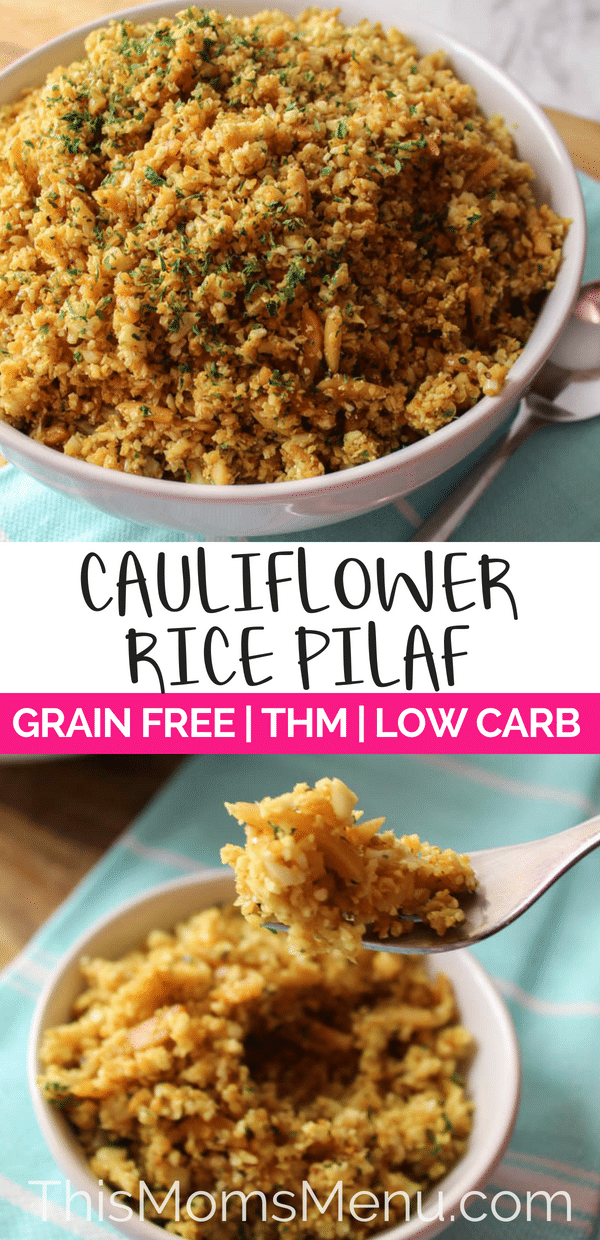 a bowl full of cauliflower rice pilaf with a text overlay
