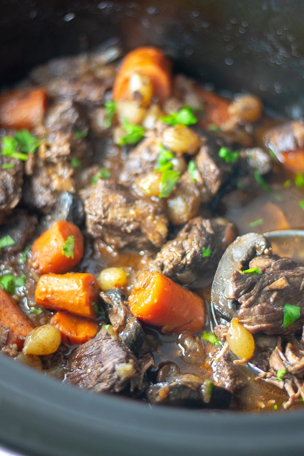 beef bourguignon in a slow cooker