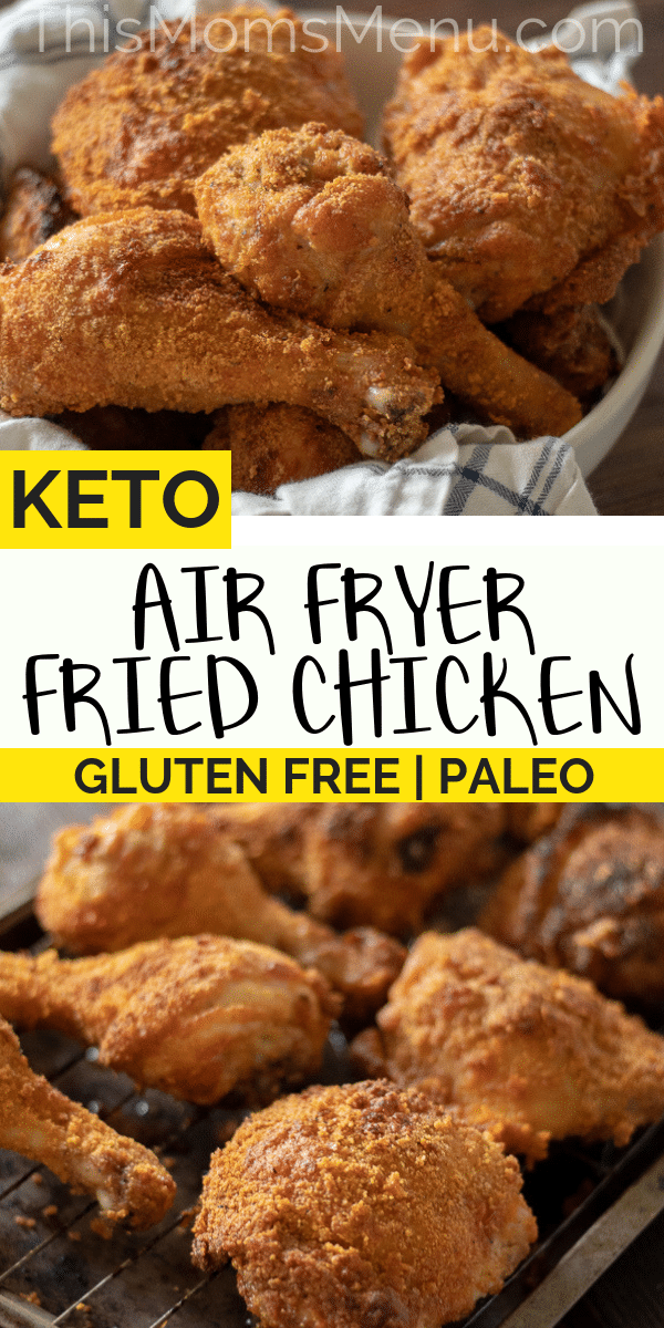 a collage of low carb air fryer fried chicken with a text overlay.