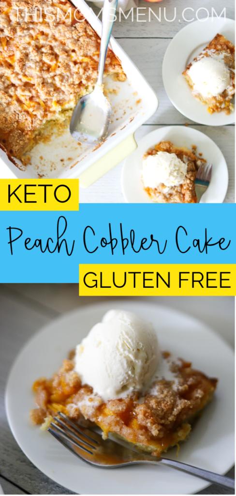 keto peach cobbler cake pinterest image
