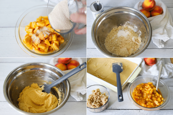 image collage showing the steps for making gluten free peach cobbler