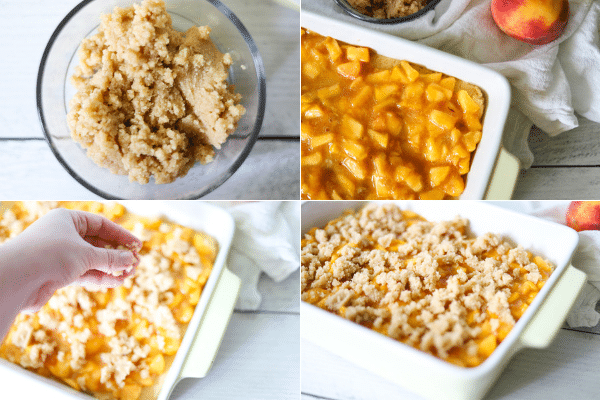 a four image collage showing the steps for making a low carb peach cobbler