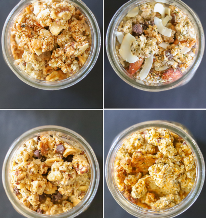 photo collage showing four varieties of keto granola: banana bread, almond joy, chocolate peanut butter, and carrot cake a