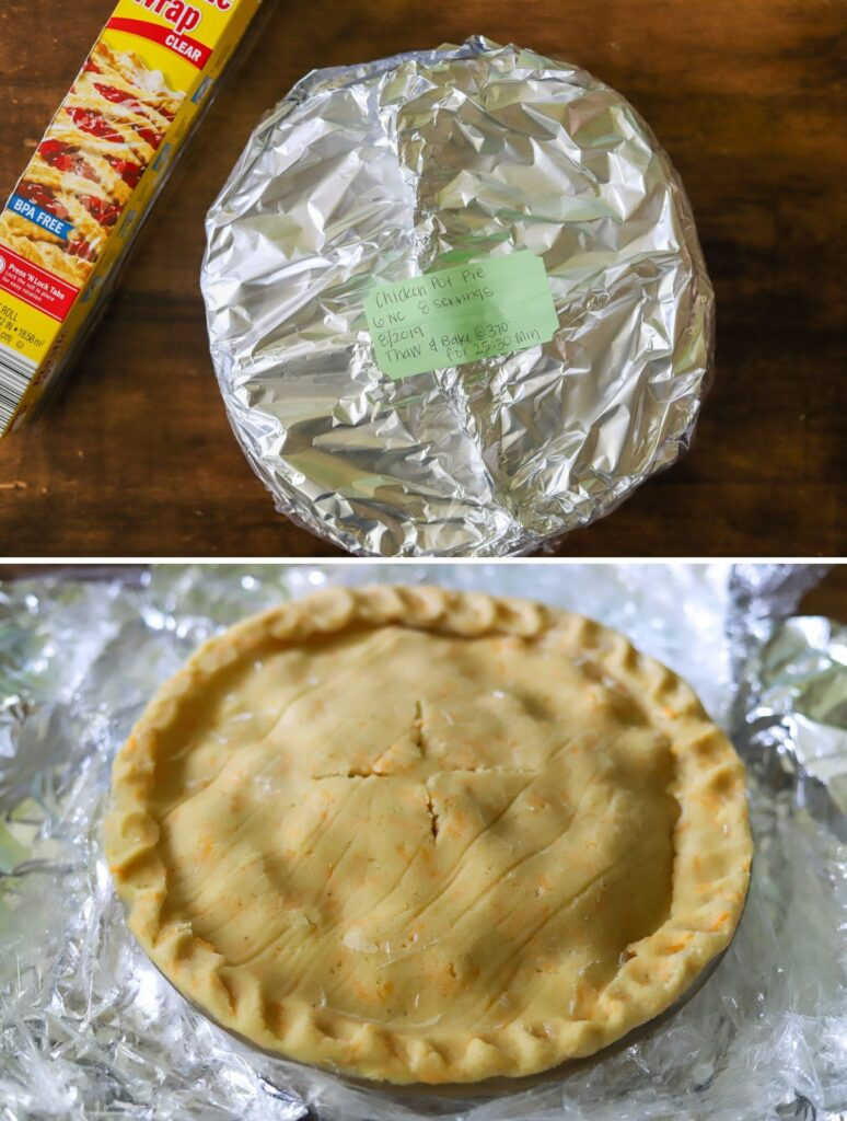 A 2 photo collage. The top image is a low carb chicken pot pie wrapped up to be frozen, and the second photo is a frozen chicken pot pie just before baking.