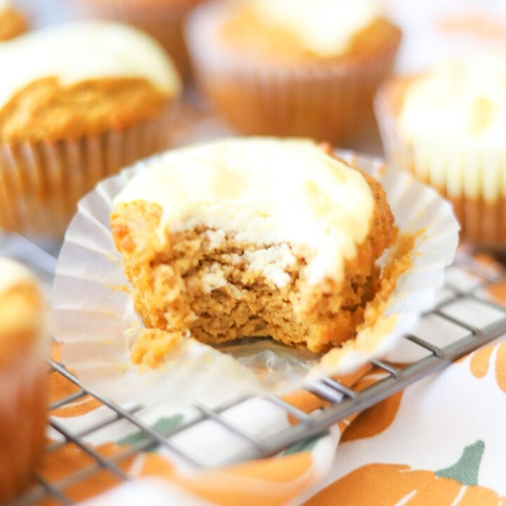 low carb pumpkin cream cheese muffin on a cooling rack