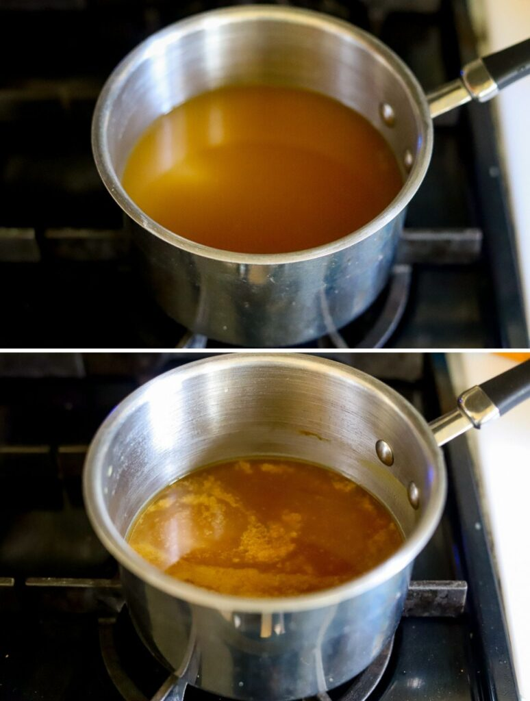 A two photo collage showing the steps for reducing broth for homemade keto gravy