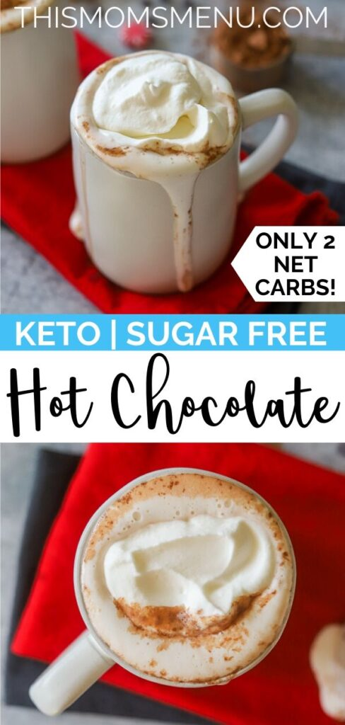 a two image collage for keto hot chocolate with text overlay