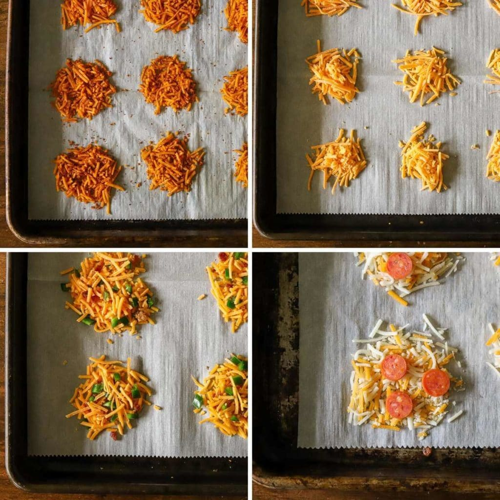 a four image collage showing the various flavors of cheese crisps being prepared for baking