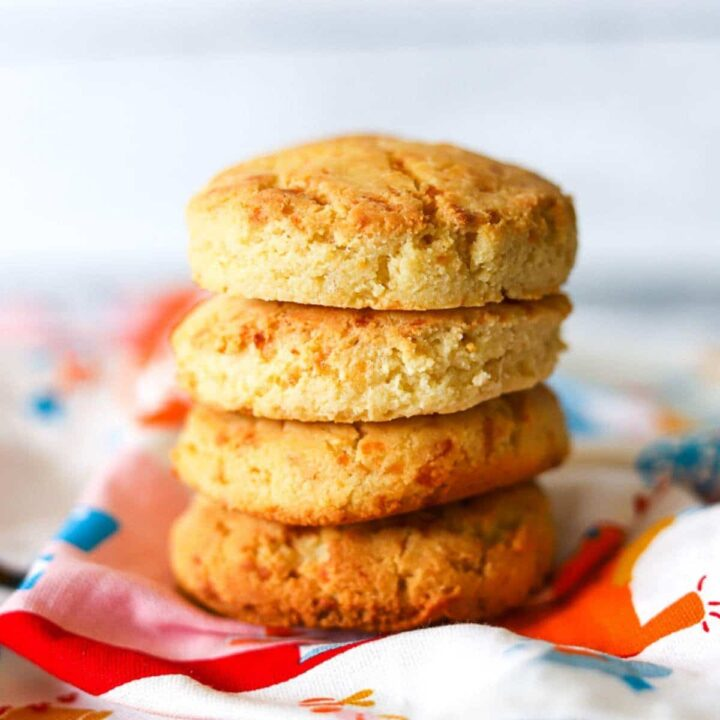 A stack of biscuits with a white background