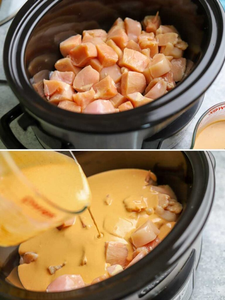 a two image collage showing the steps for making keto slow cooker thai peanut chicken
