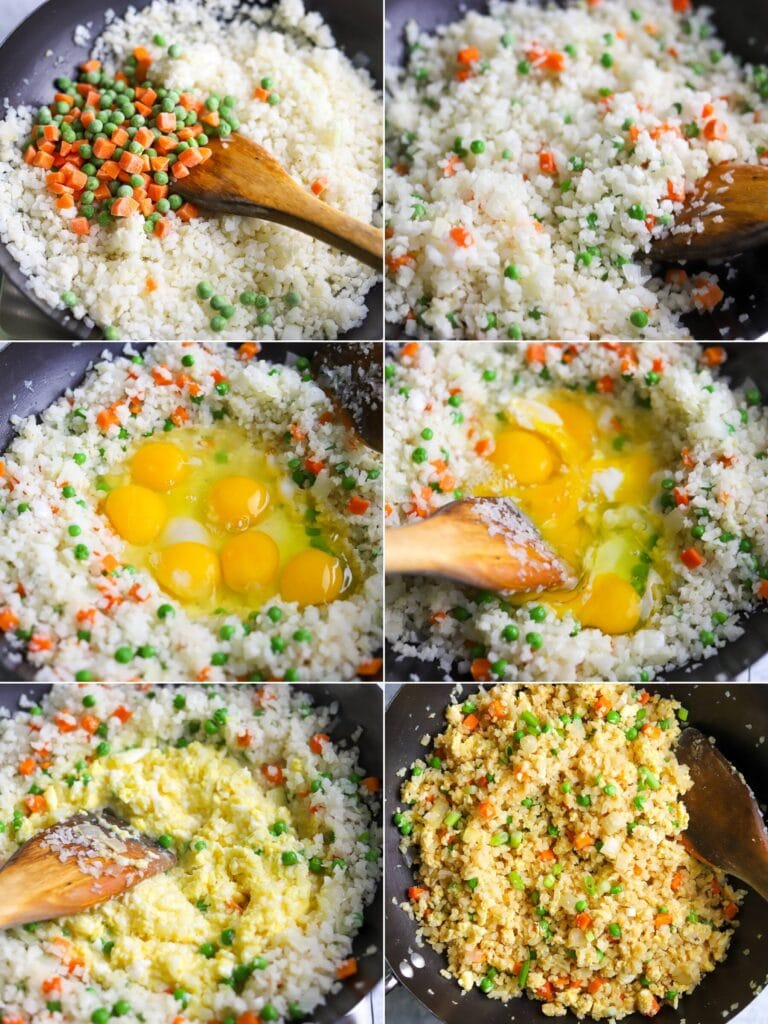 A six image collage showing the steps for making cauliflower fried rice