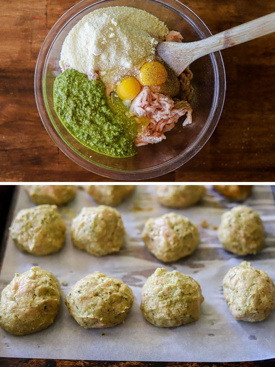 a two image collage showing the steps for making chicken pesto meatballs