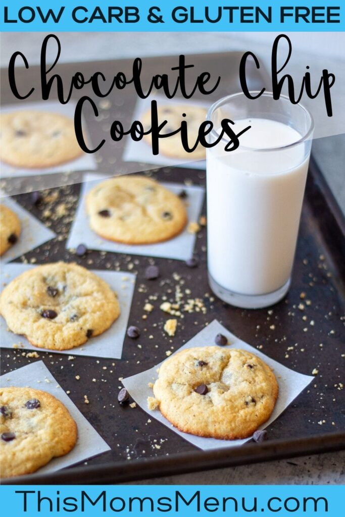 chocolate chip cookies on individual parchment squares, with scatted crumbs and chocolate chips plus a glass of milk off to the side with text overlay