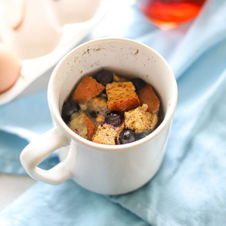 french toast and blueberries in a mug