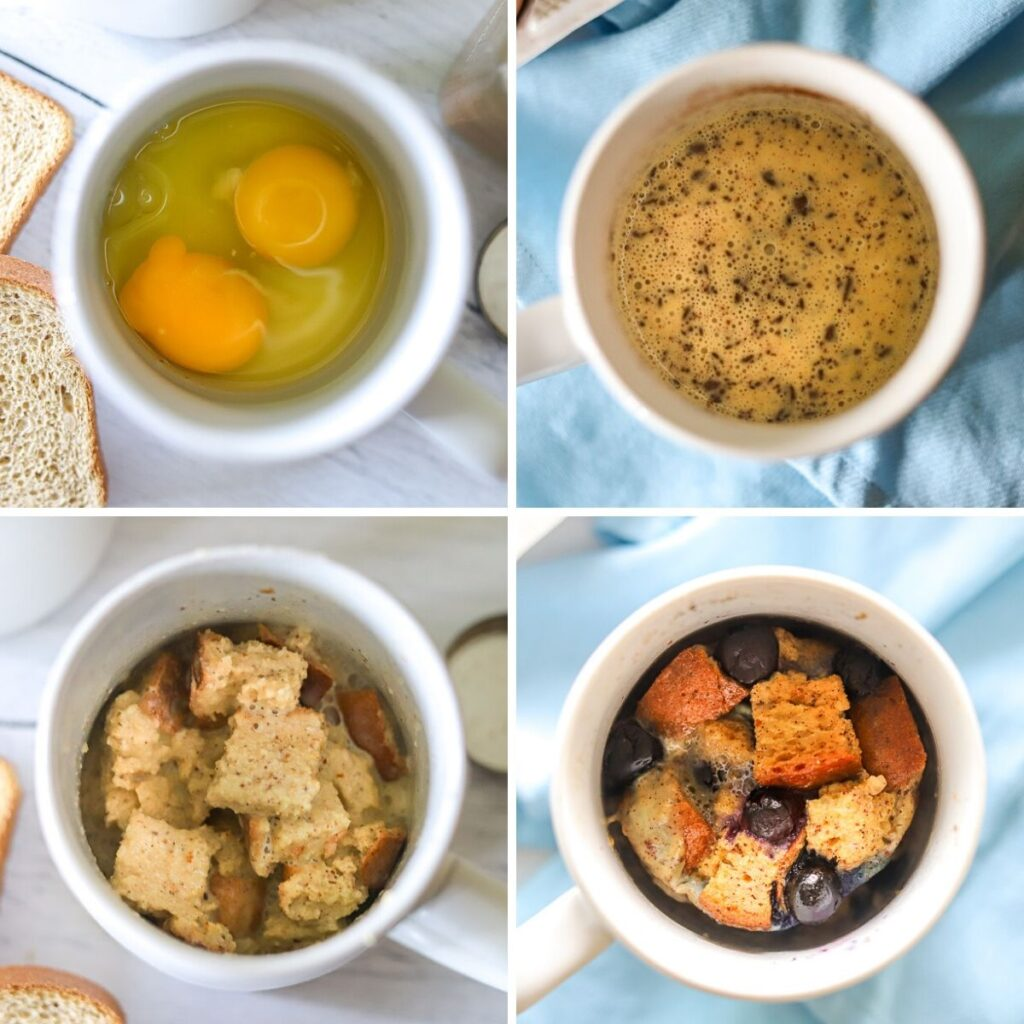 A four image collage showing the steps for making french toast in a mug.