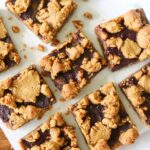 an overhead photo of peanut butter and jelly bars