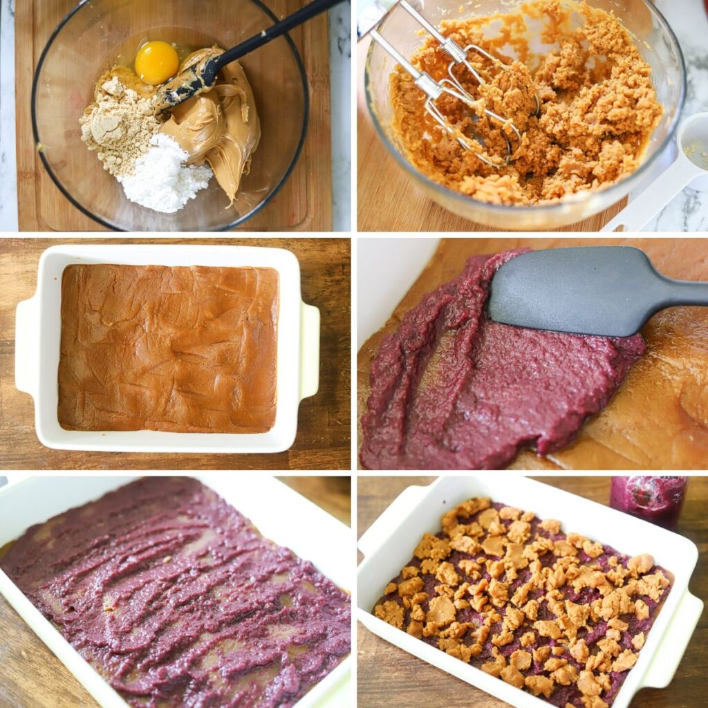 a six image collage showing the steps for making keto peanut butter and jelly bars