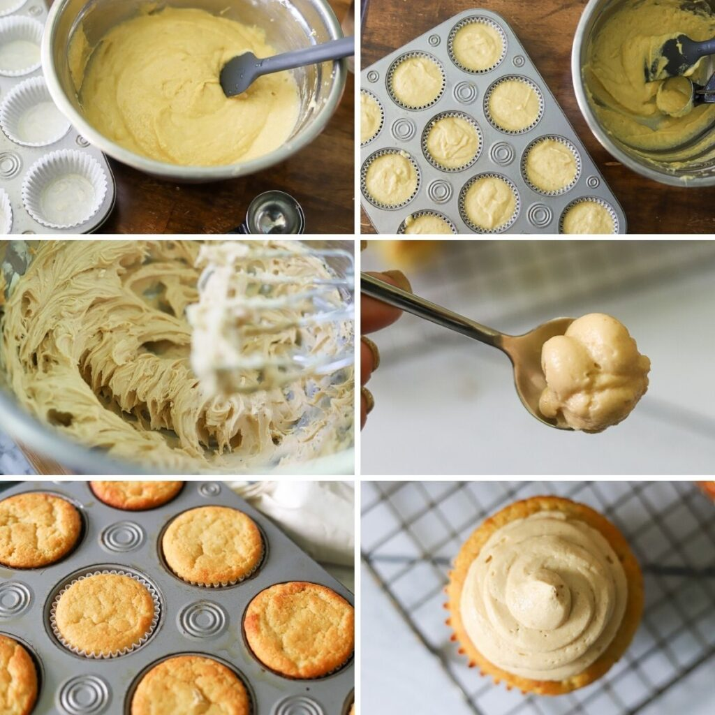 a six image collage showing the steps for making low carb peanut butter banana cupcakes