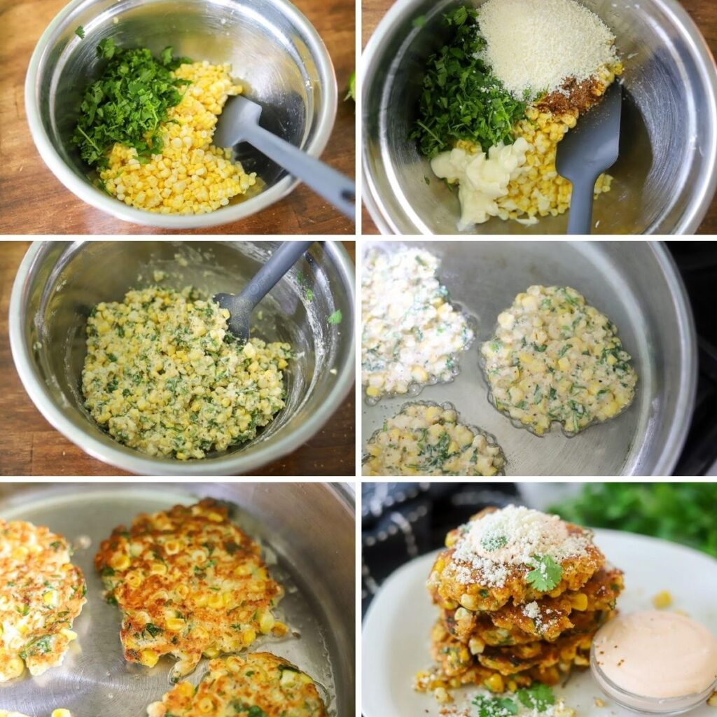 a six image collage showing the steps for making elotes fritters