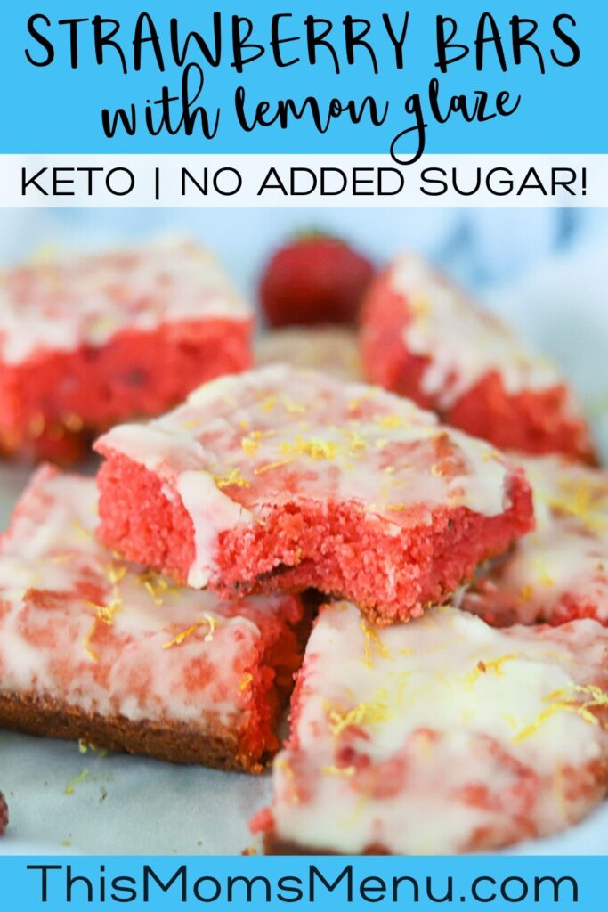 a stack of low carb strawberry lemon bars on a parchment lined platter with a text overlay