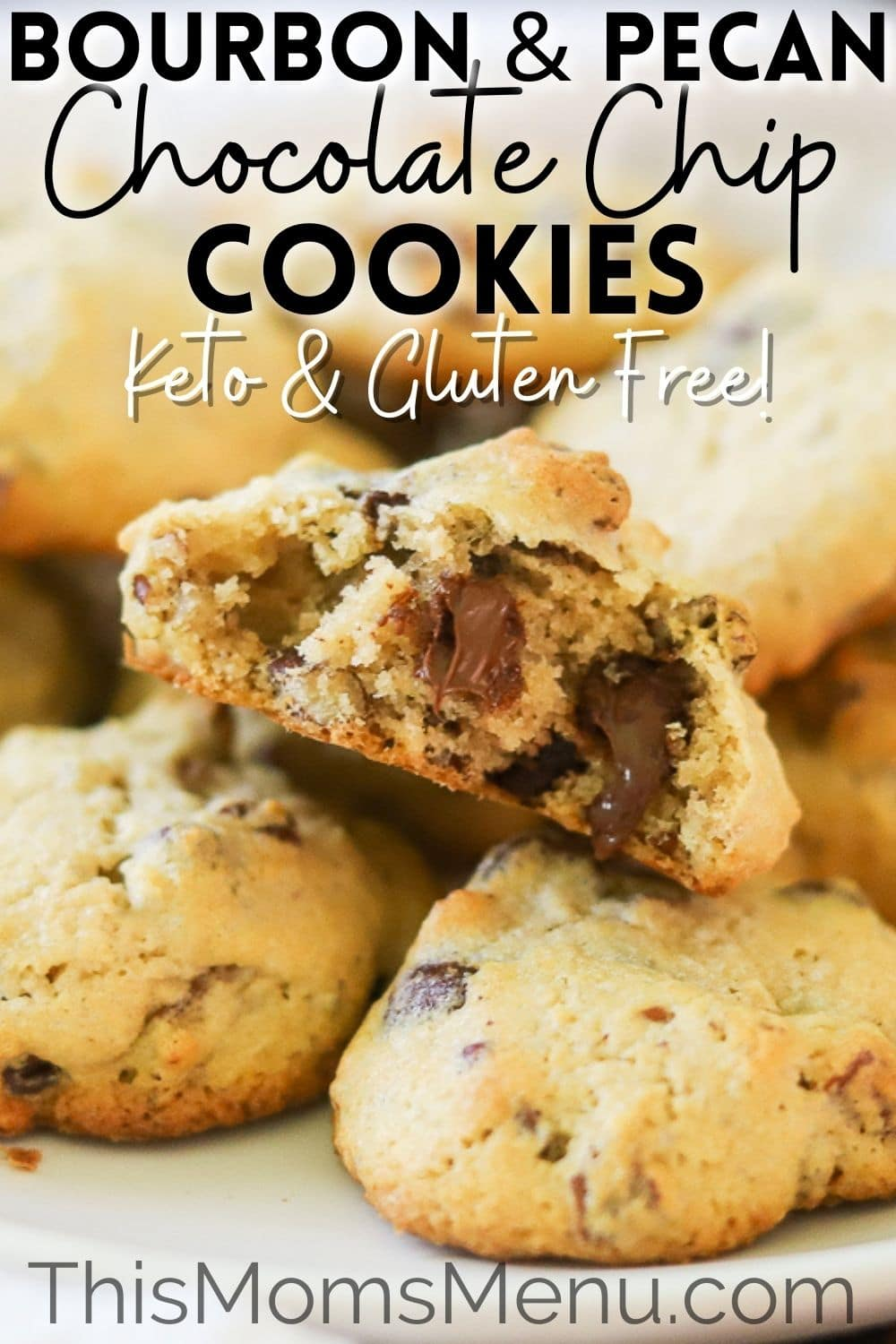 """keto cookies with chocolate, pecans, and bourbon stacked on a white plate. The top cookie has one bite taken, exposing melted chocolate inside the cookie. This image also has a text overlay that says """"Bourbon and Pecan Chocolate Chip cookies, keto & gluten free"""" in black and white lettering."""