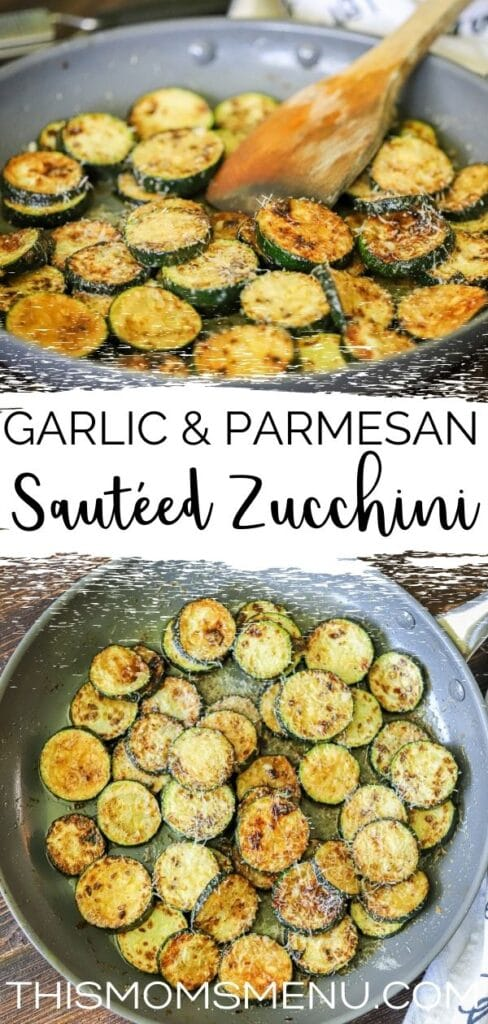 a photo collage of sauteed zucchini with text overlay