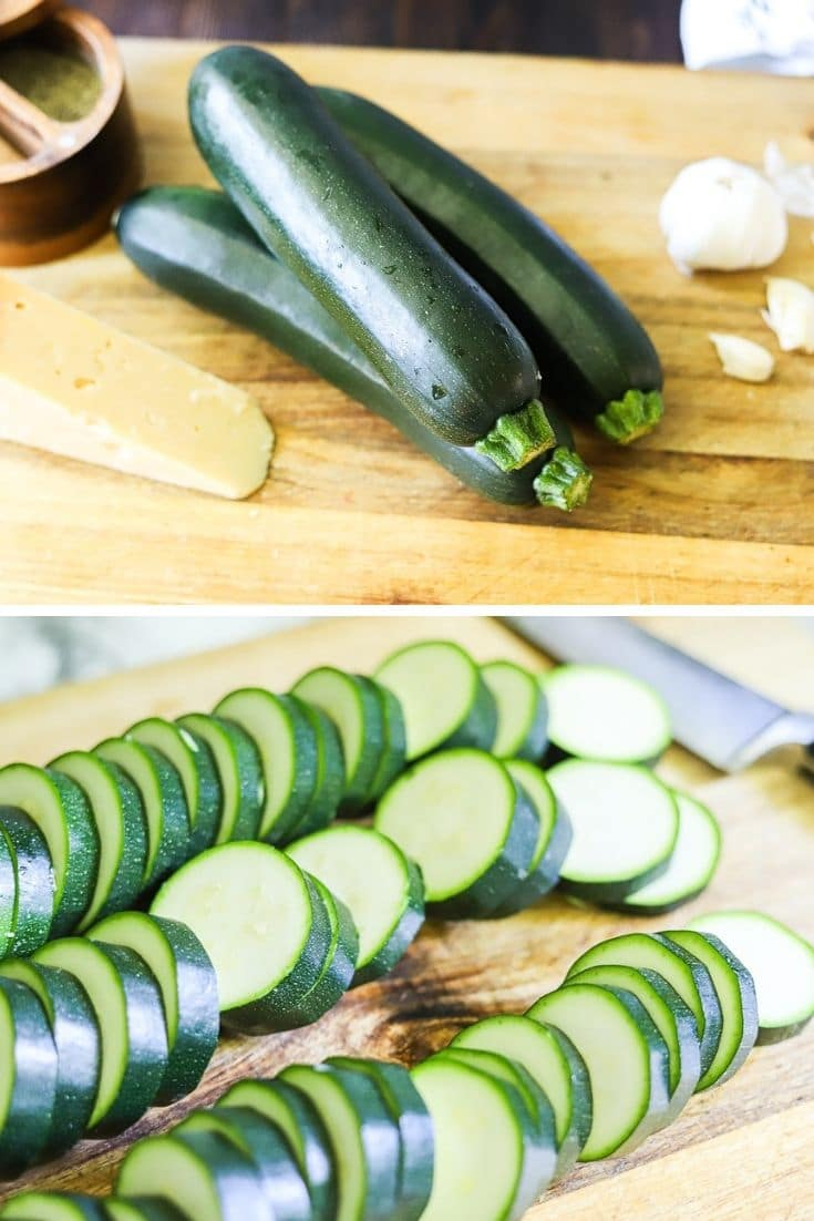 a 2 image collage. The top image is whole zucchini on a wooden cutting board, and the bottom image os zucchini sliced to ¼ inch thickness on a wooden cutting board.