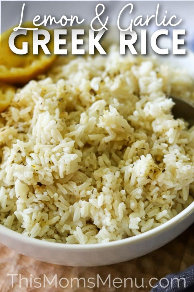 Rice seasoned with lemon, garlic, and oregano in a white serving bowl with a text overlay
