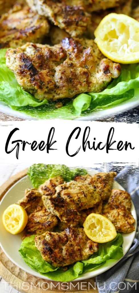 a two image collage of grilled chicken with a text overlay