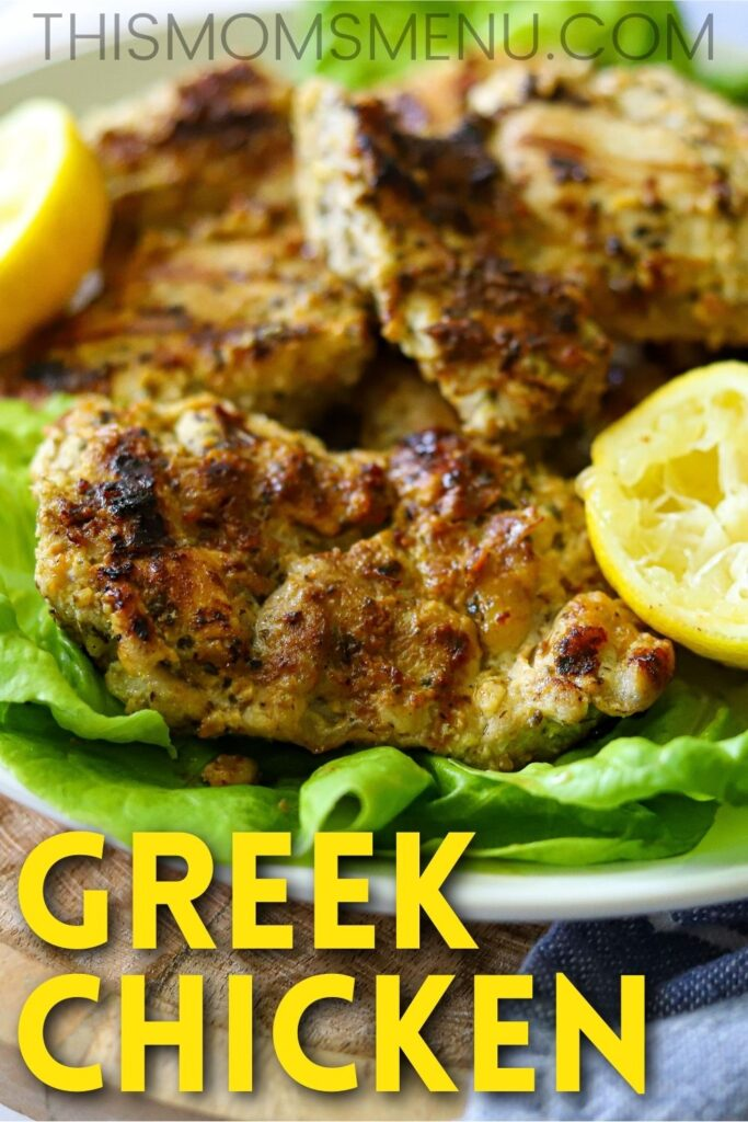 Greek chicken on a bed of lettuce with a yellow text overlay