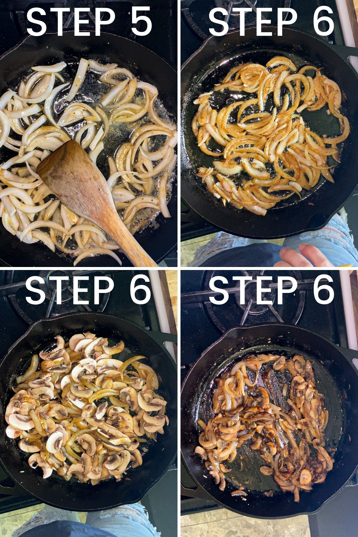 a four image collage showing the steps for cooking the onions, mushrooms, and garlic