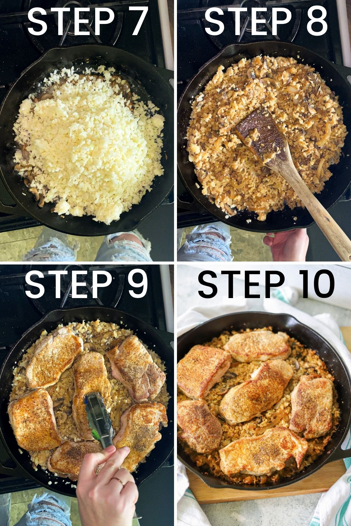 a four image collage showing steps 7, 8, 9, and 10 for following this recipe.