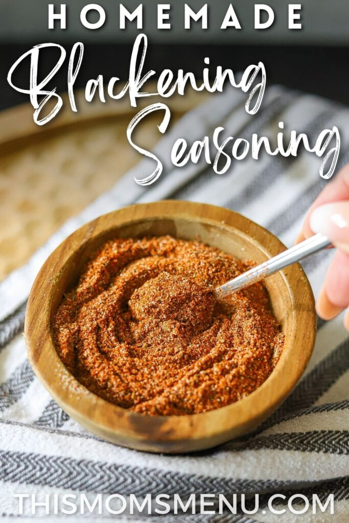 homemade seasoning blend in a small bowl with a text overlay