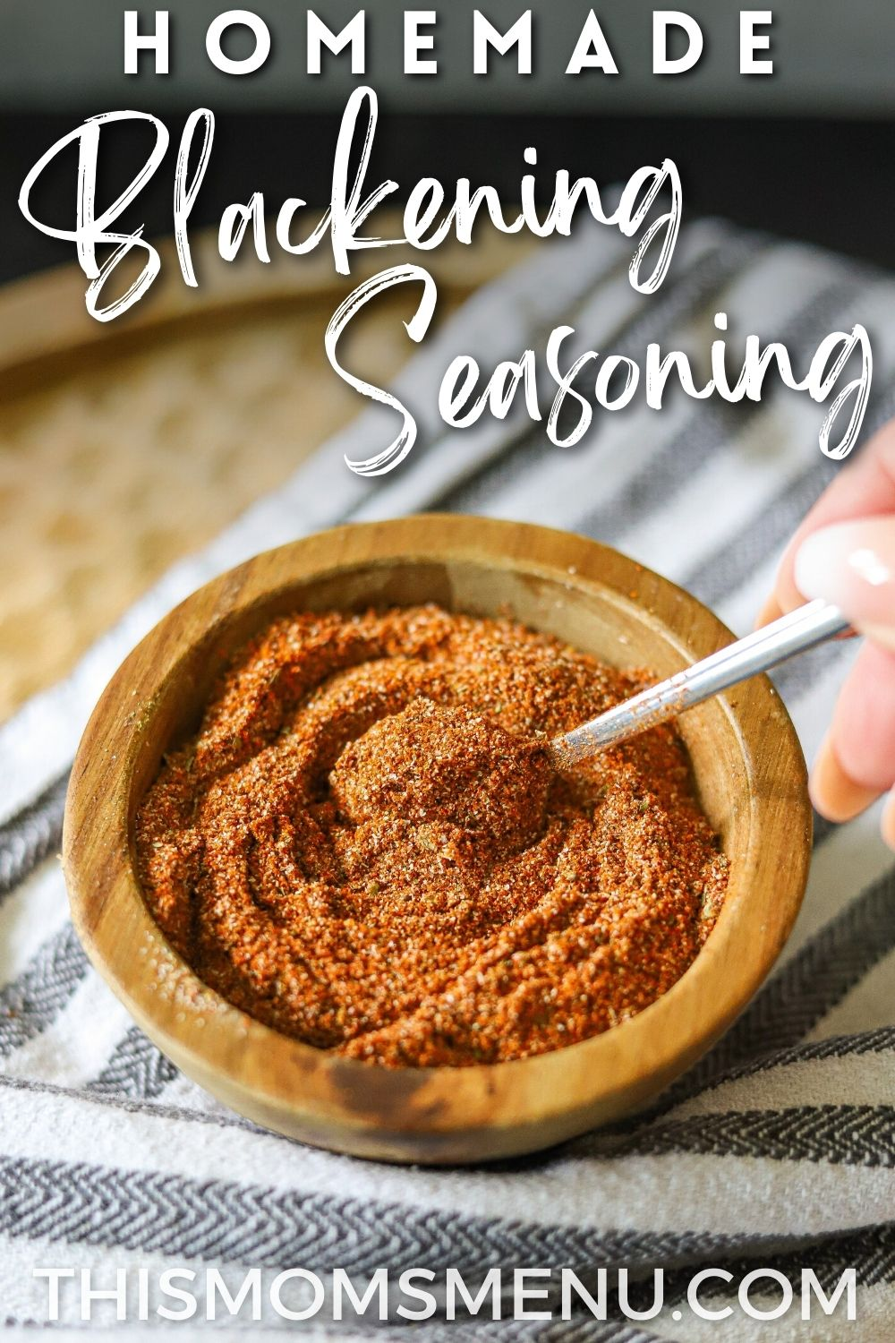 homemade seasoning blend in a wooden bowl with text overlay.