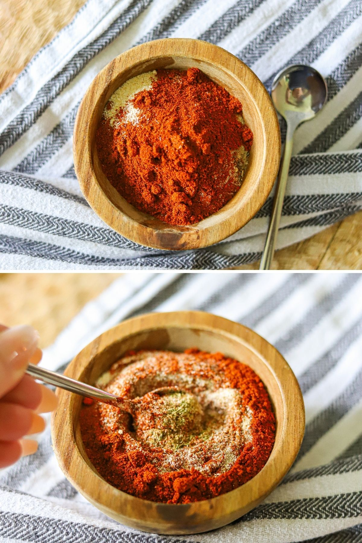 a two image collage showing the steps for making homemade blackening spice