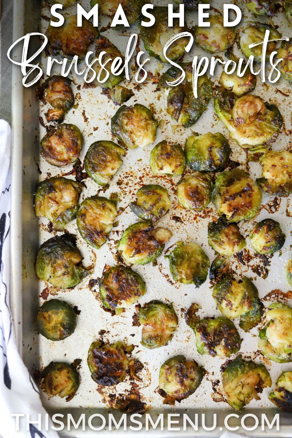 crispy roasted brussels sprouts on a sheet pan with text overlay