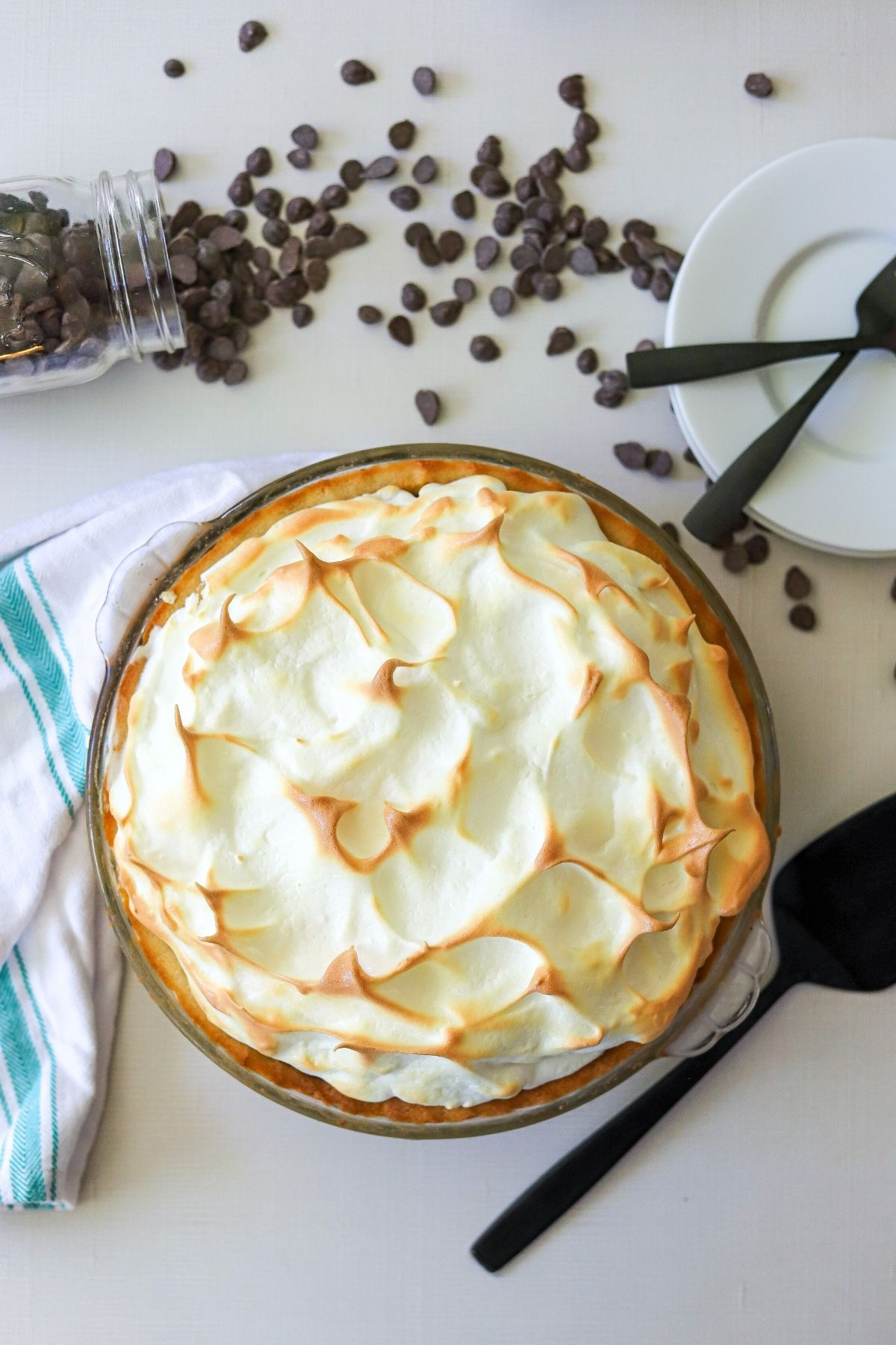 A fully baked pie topped with browned meringue.