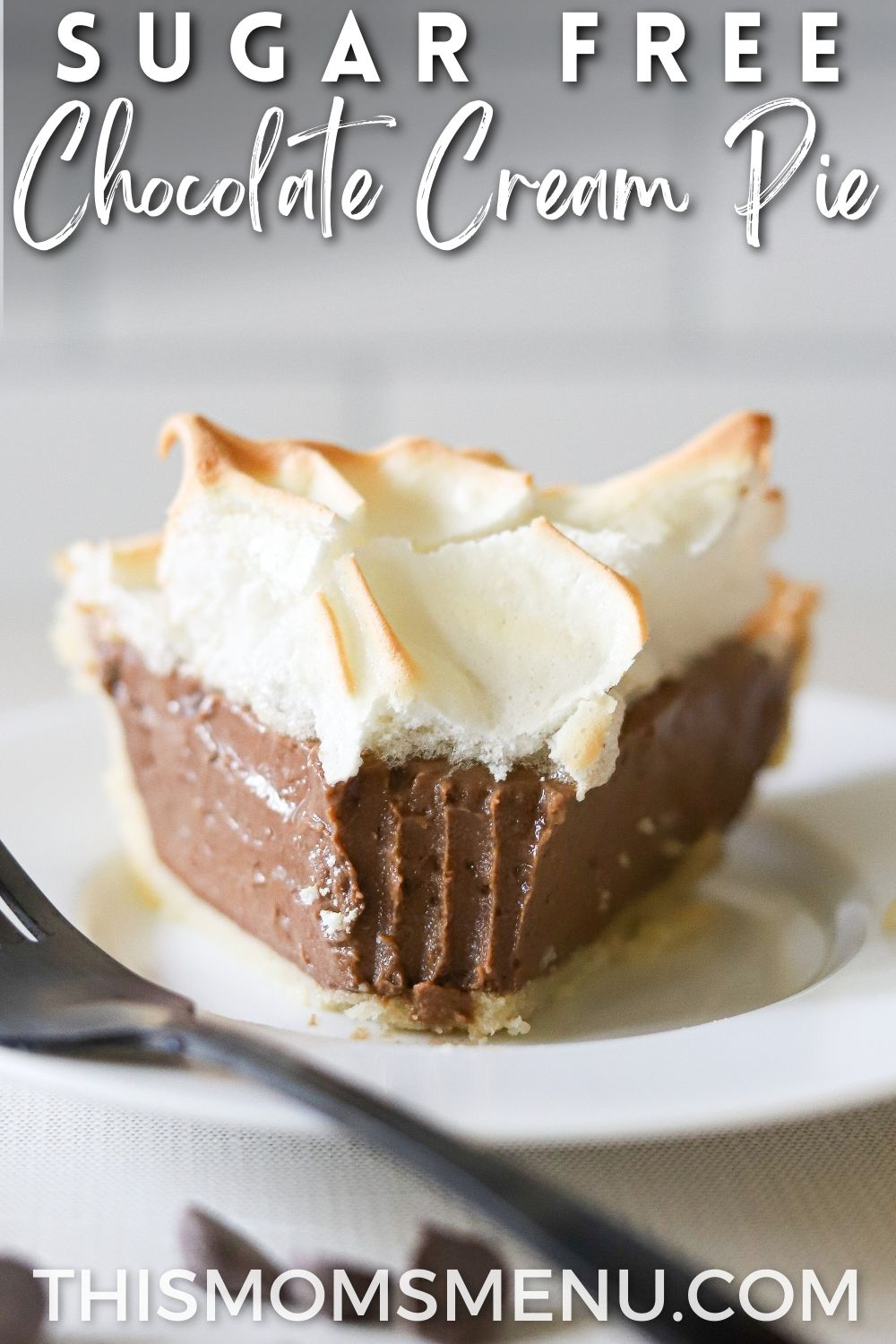 a slice of chocolate pie on a plate with text overlay