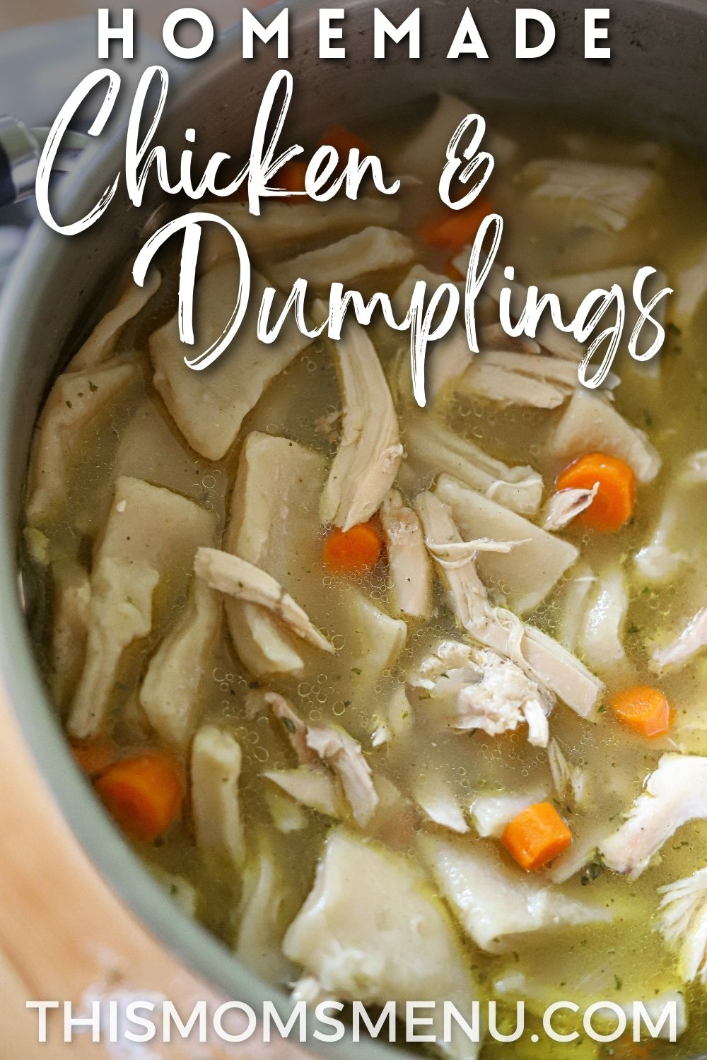 a large pot full of chicken and dumplings with a text overlay