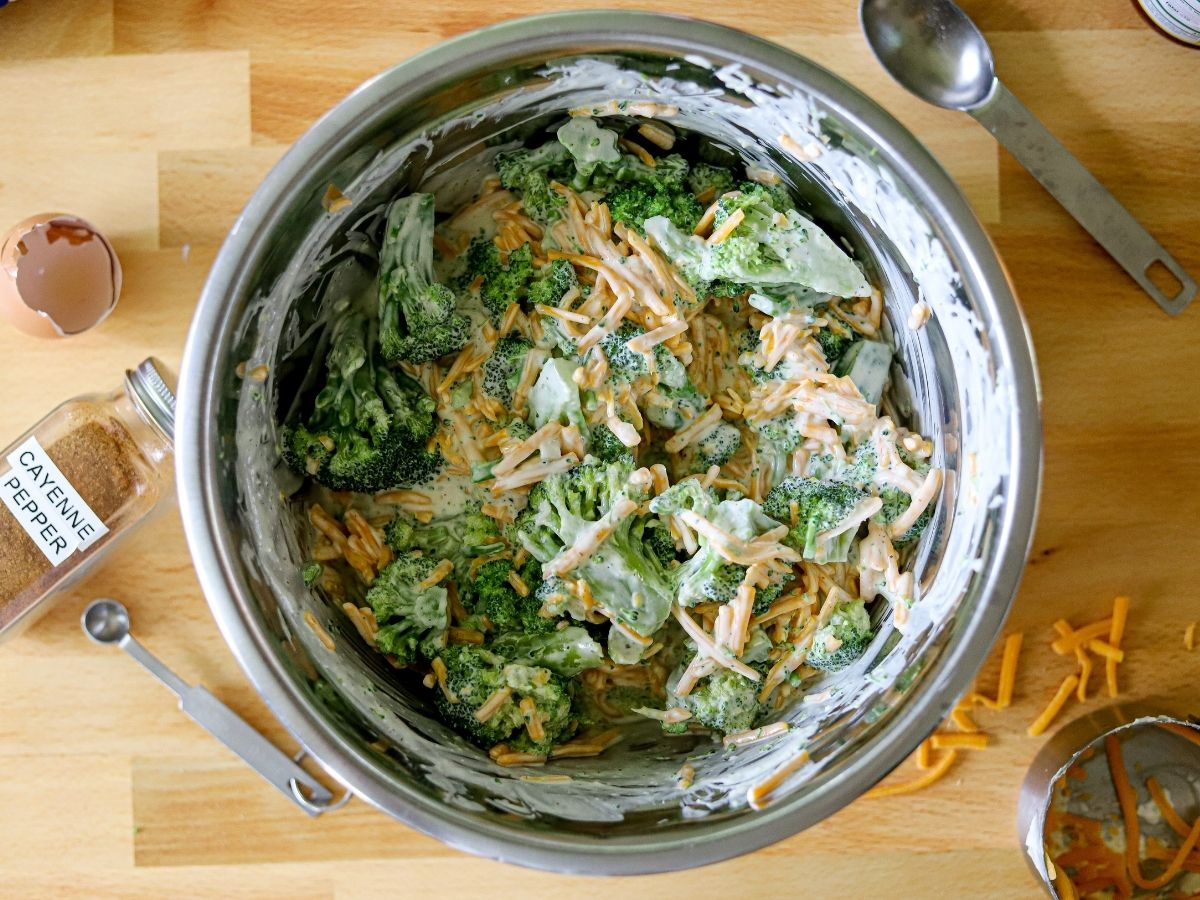 Step five for making a low carb broccoli casserole with frozen broccoli