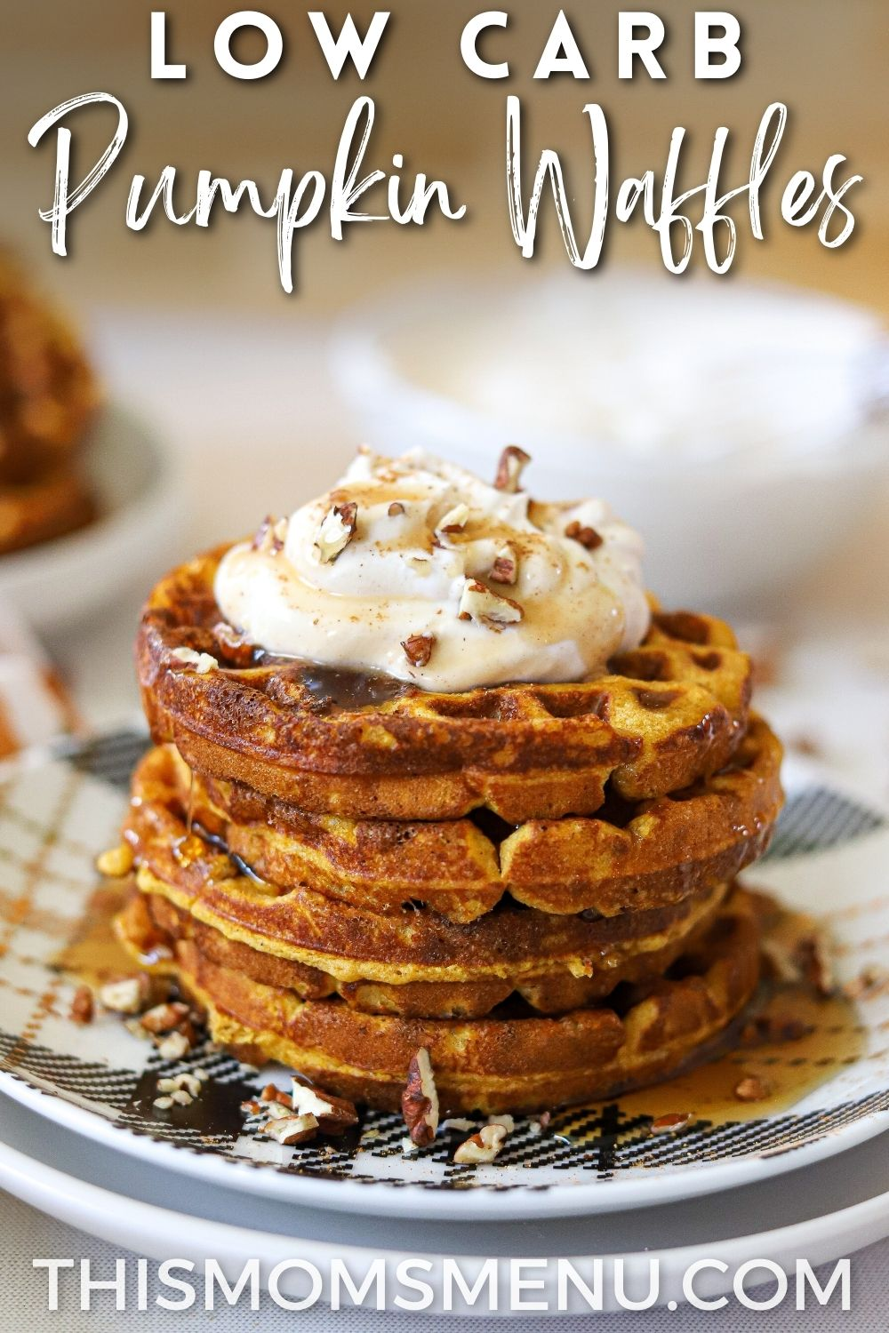 Stacked pumpkin waffles with a text overlay